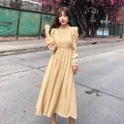 韓国ファッション 2色 花柄 ワンピース ドレス   シルクジョーゼット お茶会 オフィス OL 普段着結婚式 女子会 発表会 二次会  ドレス お呼ばれ パーティー セレブ 女優 同窓会