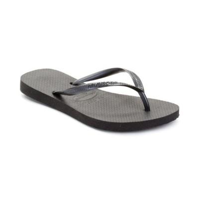 ハワイアナス Havaianas レディース ビーチサンダル シューズ・靴 Slim Metallic Flip Flops Black