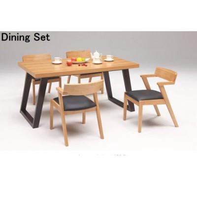 送料無料 ダイニング5点セット ダイニング テーブル椅子4脚 ナチュラル/ブラック