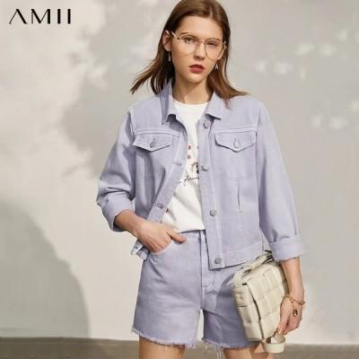 海外輸入アパレル Amii Minimalism Spring New Jeans Coat For Women Fashion Cotton Lap