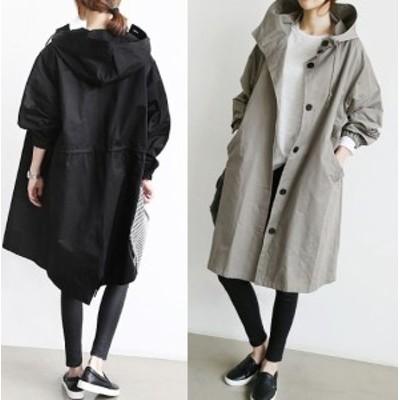 フード付モッズコート ロング丈 オーバーフィット 2色 韓国ファッション