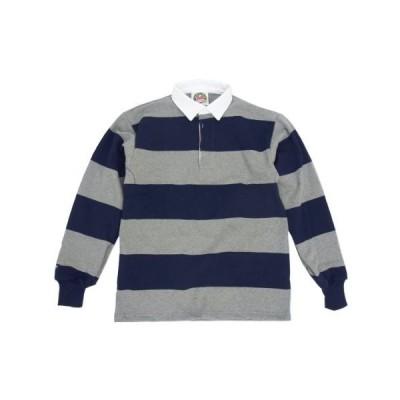 [バーバリアン] BARBARIAN クラシック ラグビーシャツ 4インチボーダー OXグレー/ネイビー S