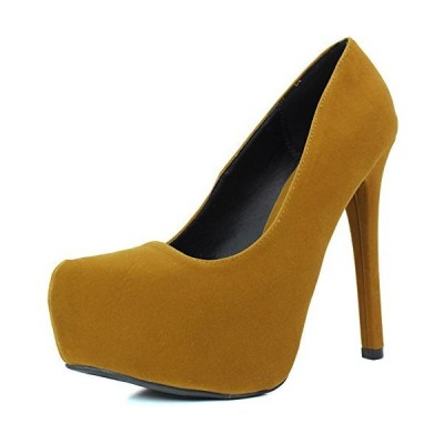 Qupid Women's Marquise06 Mustard Velvet Almond Toe Platform Stiletto Pump 6.5 M US
