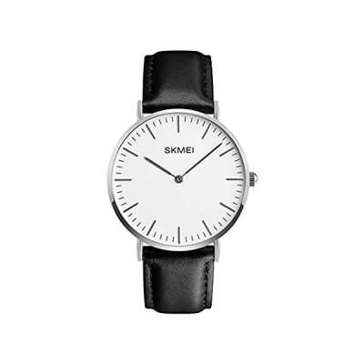 メンズ クラシック ドレス 細い文字盤 腕時計 カジュアル クラシック クォーツ ビジネス アナログウォッチ 40mm ブラック