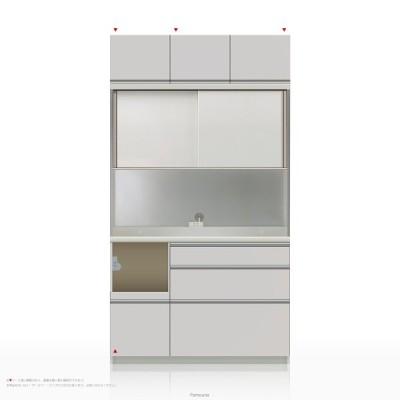 上棚付き食器棚 キッチンボード パモウナ KLシリーズ KLL-S1200R [引き戸 (スライド式扉)] (幅120cm, 奥行き45cm, 左側家電収納, パールホワイト)