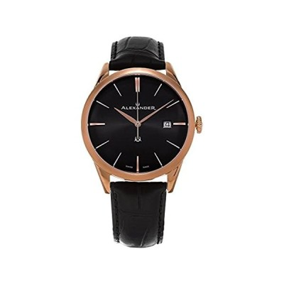 Alexander Heroic Sophisticate Men's Black Dial Black Leather Strap Rose Gold Plated Swiss Made Watch A911-05