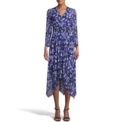 アンクライン レディース ワンピース トップス V-Neck 3/4 Sleeve Floral Print Smocked Waistband Asymmetric Hem Chiffon Midi Dress