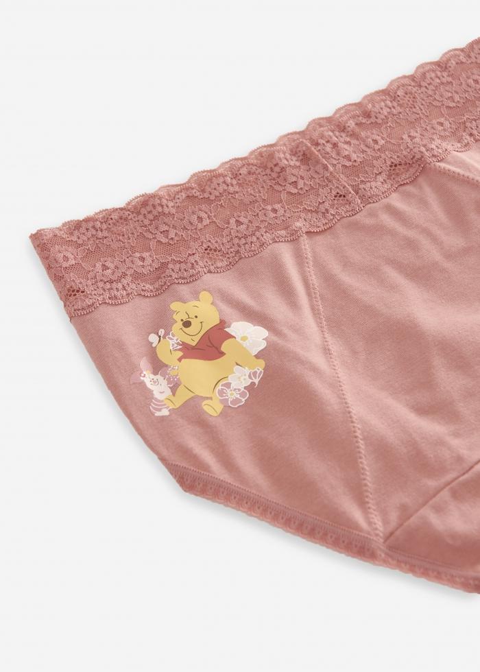 迪士尼櫻花季.蕾絲高腰生理褲(梅粉-小豬與蝴蝶)