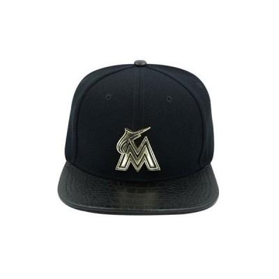 帽子 プロ スタンダード Pro Standard Men's MLB Miami Marlins Metal Lthr Buckleback Hat Black W/ Pins