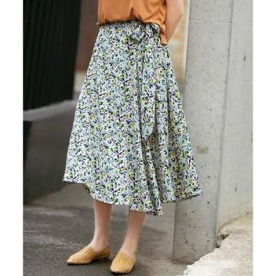 スカート サイドリボン付き花柄スカート