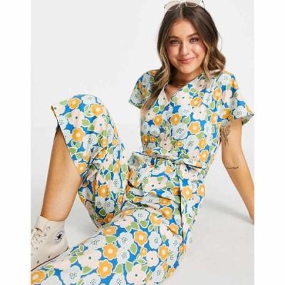 モンキ Monki レディース オールインワン ジャンプスーツ ワンピース・ドレス Rocco jumpsuit with tie waist in retro floral print フローラル