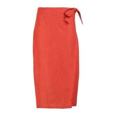 8 by YOOX 7分丈スカート 赤茶色 38 リネン 88% / ナイロン 12% 7分丈スカート