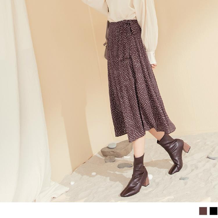 質感綁帶滿版點點雪紡傘襬A字長裙