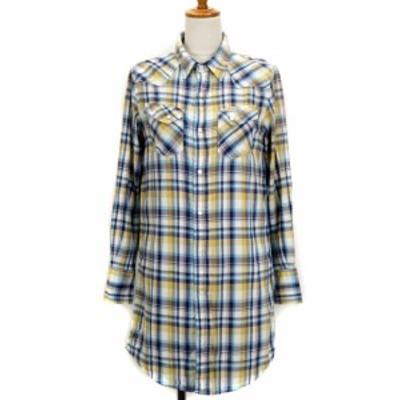 【中古】ショコラフィネローブ chocol raffine robe ラングラー ワンピース シャツワンピ チェック M 青 レディース