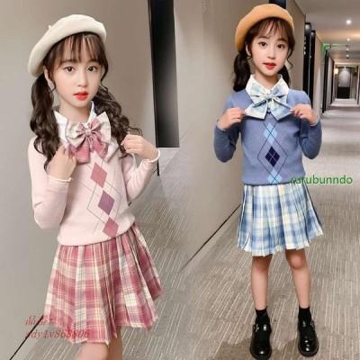 可愛い春秋 ジュニア女の子 ブラウススカートセットアップ通学着カジュアル子供服卒業式女の子発表会 演奏会 ステージお受験 入園式2021韓国