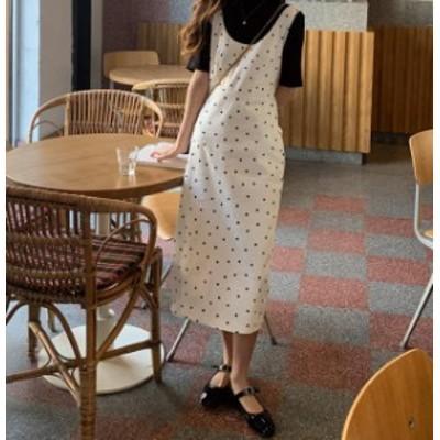 韓国 ファッション レディース ジャンパースカート ロング ミモレ丈 ドット柄 ハイウエスト スリット 大人可愛い カジュアル レトロ シン
