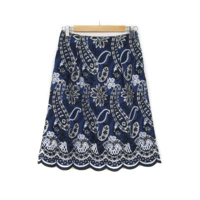 【中古】スキャパ SCAPA スカート フレア 刺繍 ペイズリー スカラップ シルク リネン 38 青 ブルー レディース 【ベクトル 古着】