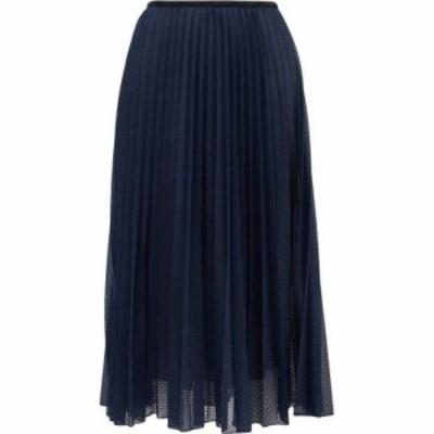モンクレール Moncler レディース ひざ丈スカート スカート Perforated mesh pleated midi skirt Navy