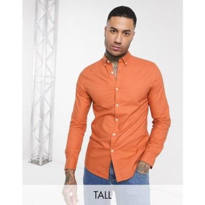 ファーラー Farah メンズ シャツ トップス Brewer slim fit oxford shirt in orange