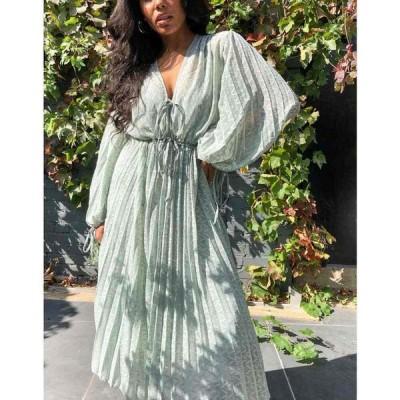 エイソス ASOS DESIGN レディース ワンピース ミドル丈 Pleated Midi Dress With Drawstring Waist And Balloon Sleeves In Chevron Dobby In Sage Green