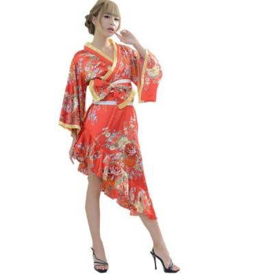 着物ドレス 花魁 コスプレ衣装 浴衣 祭り 結婚式 サテン ダンス衣装 よさこい衣装 送料無料 斜めカットフリル花魁着物ドレス 花魁 ドレス