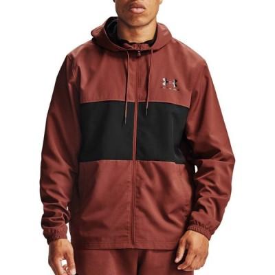 アンダーアーマー メンズ アウター Under Armour Sportstyle Windbreaker Jacket ウインドブレーカー ジャケット CINNA RED/BLACK