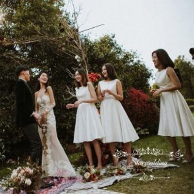 ウエディングドレス 結婚式 Aラインドレス ミモレ丈 ブライズメイドドレス 結婚式 花嫁 挙式 小さいいサイズ ミディアム丈 旅行撮影 安い