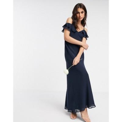 ウェアハウス Warehouse レディース パーティードレス マキシ丈 bridesmaids cold shoulder frill maxi dress with button back in navy ネイビー