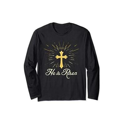 He is Risen - Jesus - Christian Cross Silhouette Easter 長袖Tシャツ