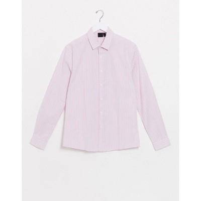 エイソス ワークシャツ メンズ ASOS DESIGN skinny fit pink & blue stripe shirt エイソス ASOS ピンク