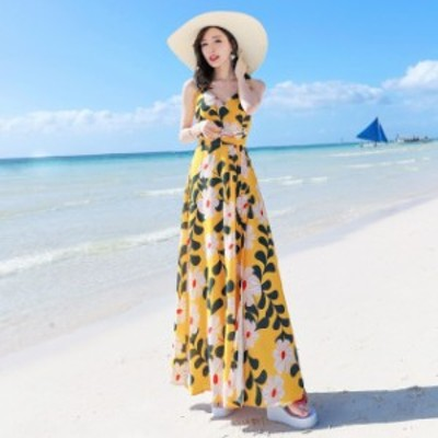 ロングワンピース 大きいサイズ 夏 レディース ワンピース リゾート ワンピース ハワイ 沖縄 マキシ丈 サマーワンピース 花柄