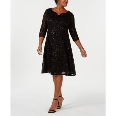 SL ファッションズ SL Fashions レディース パーティードレス 大きいサイズ ワンピース・ドレス Plus Size Sequined Lace Dress Black