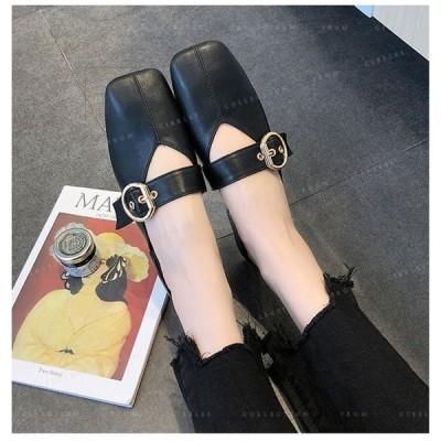 サンダルレディース靴歩きやすいスリッパスクエアヘッドストラッポ靴可愛い通勤ファッション