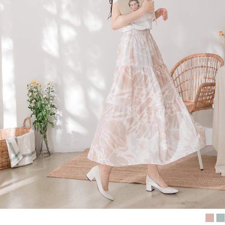 渡假感淡雅渲染印花腰鬆緊層次傘襬長裙