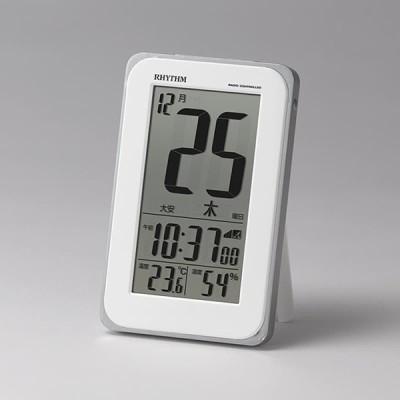 RHYTHM リズム デジタル 電波 目覚まし時計 掛置兼用 フィットウェーブカレンダーD139 8RZ139SR03 白