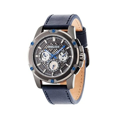 Police Men's Quartz Watch with Grey Dial Analogue Display and Blue Leather Strap 14689JSU/13 並行輸入品