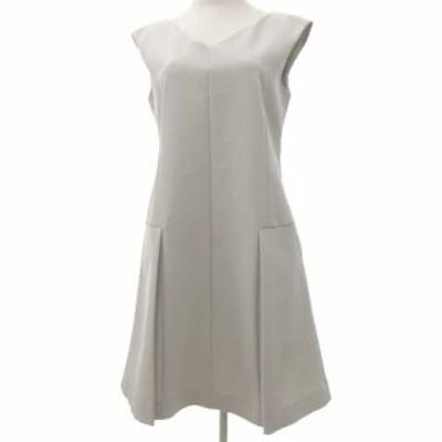 【中古】フォクシー NEW YORK 17SS ワンピース ひざ丈 ノースリーブ ドレス 40 Lサイズ ライトベージュ レディース