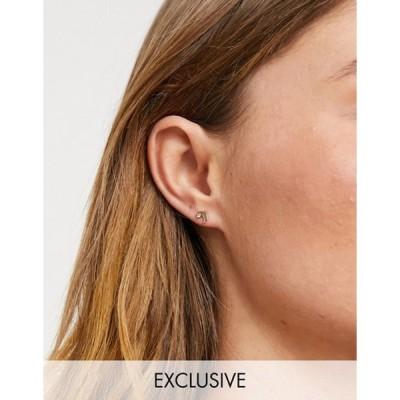 リクレイム ヴィンテージ レディース ピアス・イヤリング アクセサリー Reclaimed Vintage Inspired barbell earrings with moon in gold