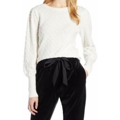 ファッション トップス Halogen NEW White Ivory Womens Size Large L Ribbed Trim Crewneck Sweater