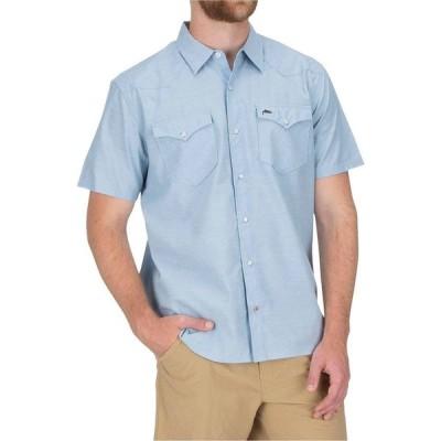 シムス Simms メンズ シャツ トップス No - Tellum Long - Sleeve Shirt Faded Denim Chambray