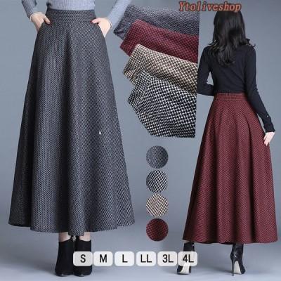 ロングスカート 秋 冬 大きいサイズ ゆったり フレアスカート レディース マキシ丈 柄 裏地あり