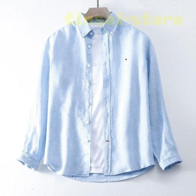 リネンシャツ メンズ 長袖 トップス 折り襟 カジュアルシャツ リネン 無地 刺繍 ゆったり ビジネス 通勤 春 夏 夏物 メンズファッション 20代 30代