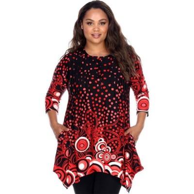 ホワイトマーク White Mark レディース チュニック 大きいサイズ トップス Plus Size 3/4 Sleeve Printed Sigrid Tunic Top - black/red