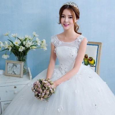 ウェディングドレス 安い 結婚式 花嫁 二次会 パーティードレス お花 フレンチスリーブ 編上げ レースアップ プリンセスライン ウエディングドレス 白