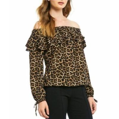 マイケルコース レディース シャツ トップス Leopard Print Ruffle Off-the-Shoulder Long Sleeve Top Dark Camel