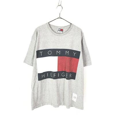 古着 90s USA製 TOMMY HILFIGER BIG フラッグ プリント コットン Tシャツ グレー XL 古着