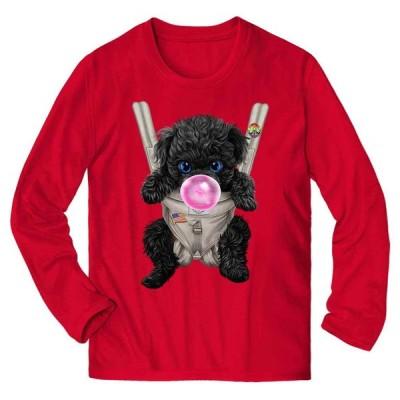 【黒毛 プードル  いぬ 犬 抱っこ 抱っこ紐 ガムり】メンズ 長袖 Tシャツ by Fox Republic
