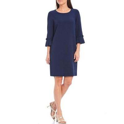 イグナイト レディース ワンピース トップス Petite Size 3/4 Sleeve Crepe Shift Dress
