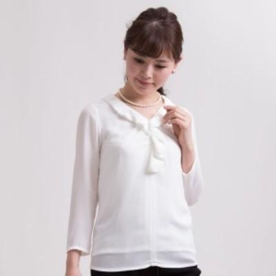 マダムココ(MADAMECOCO)/ラッフルフリルカラー長袖ブラウス/大きいサイズ/白/長袖(メアリーココ)
