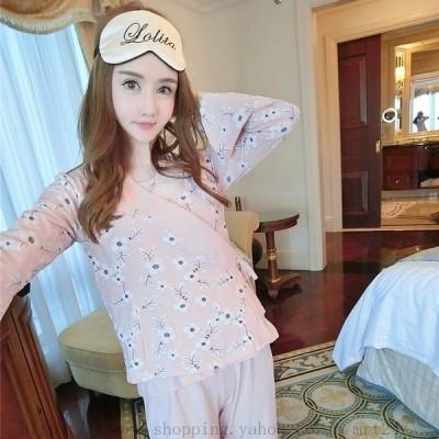 ルームウエア パジャマ 春夏 秋冬 前開き 長袖着物   綿 パジャマ 花柄 3点セット  ルームウエア キャミチョッキ 寝間着  婦人服 女性 可愛い 大人